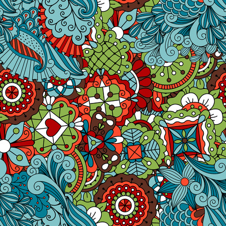 full frame: Full frame seamless floral pattern colored green with some red and brown with other geometric elements