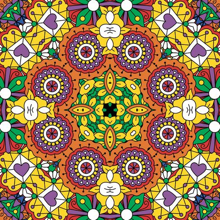 full frame: Beautiful full frame yellow and green geometric design in a circular pattern with row of hearts