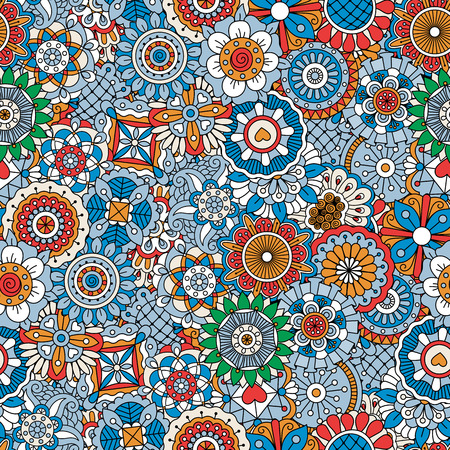 full frame: Beautiful background composed of multi colored floral designs and intricate geometric full frame patterns