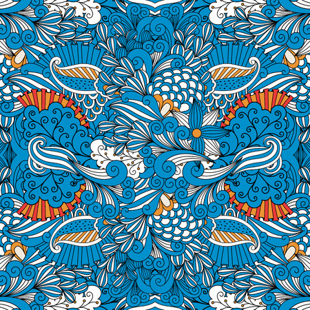 full frame: Blue full frame seamless intricate background composed of lovely floral patterns and geometric designs