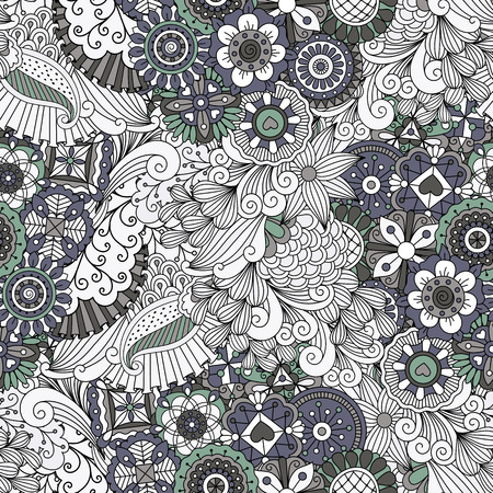 curlicues: Lovely symmetrical full frame background on white with floral designs and geometric patterns
