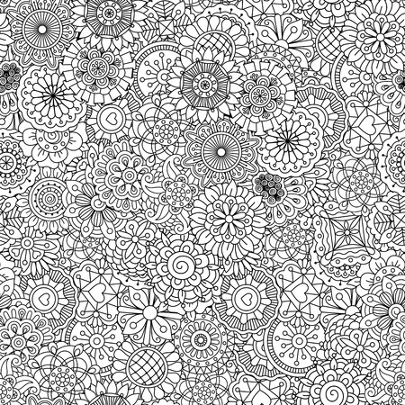 full frame: Full frame outline of circular seamless pattern with shapes of hearts  flowers  leaves and intricate lines