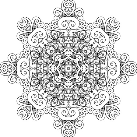 symmetrical: Intricate geometric symmetrical pattern with ornate shapes over white background