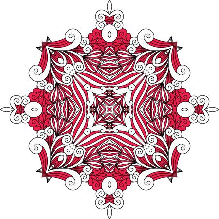 intricate: Red ornate geometric symmetrical pattern with intricate detailed swirling shapes over white background Illustration