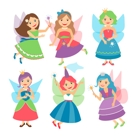 elf queen: Little fairy girls whith wings and in ball dresses. Vector illustration