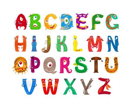 괴물 알파벳입니다. 벡터 재미 괴물 문자 ABC 벡터