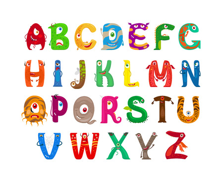 funny monster: Monster alphabet. Vector funny monster characters abc vector