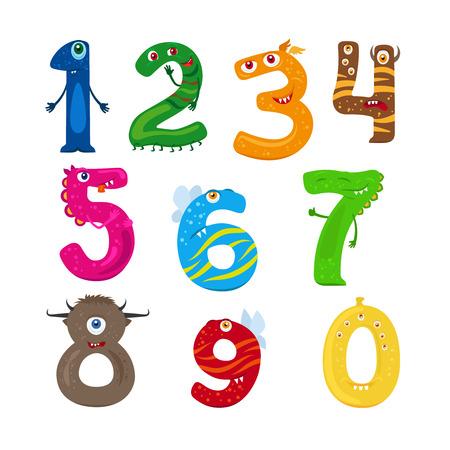 numbers: Monster numbers. Vector funny children numbers vector