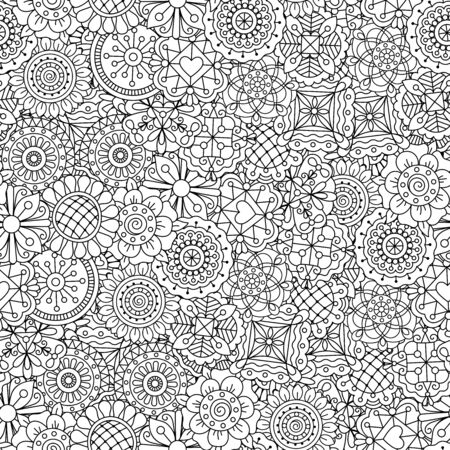 full frame: Beautiful kaleidoscope full frame background composed of ornate floral elements and other pretty patterns