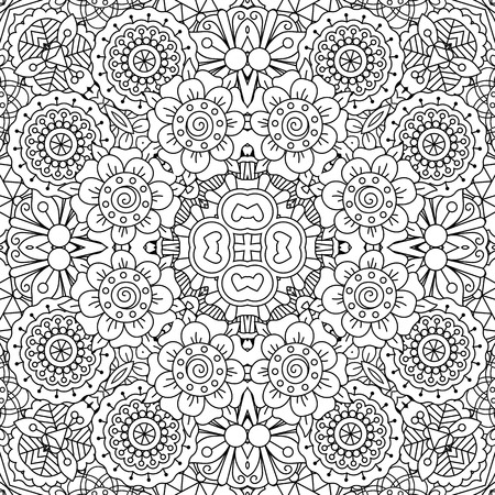 full frame: Full frame kaleidoscope background of patterns composed with geometric designs against white and having floral elements
