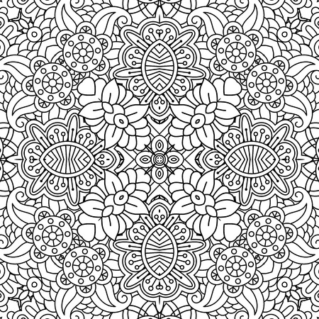 full frame: Floral full frame background of geometric designs with other pleasing elements on white