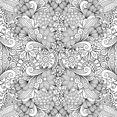 full frame: Seamless full frame kaleidoscope decoration with pretty geometric flowers and other pleasing floral elements