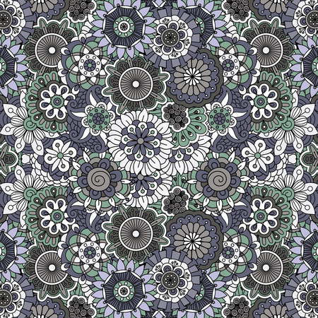 full frame: Ornate full frame background with flowers  geometric elements and minimal coloring Illustration
