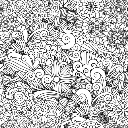 full frame: Seamless ornamental full frame background composed of pretty geometric flowers and other artful elements