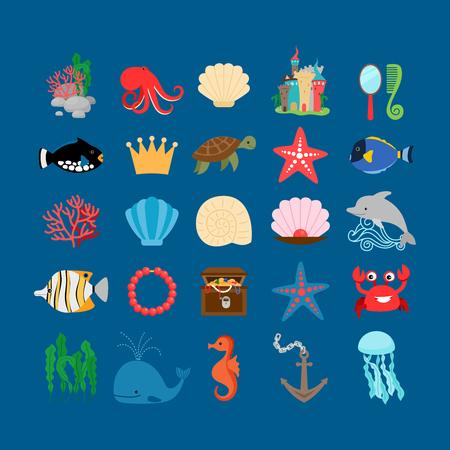 cute cartoon: Underwater set. Marine life and underwater plants, treasure and cartoon ocean animals. Vector illustration