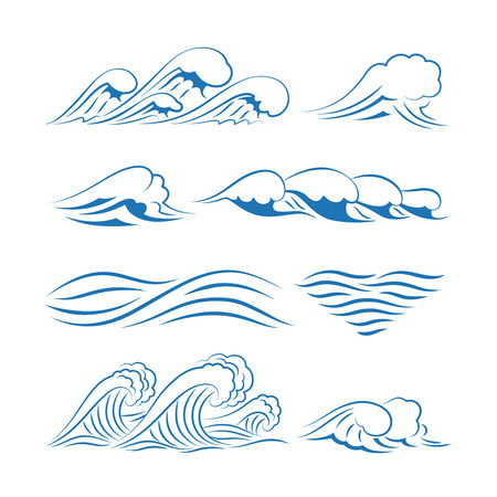 capricious: Sea waves vector. Ocean waves isolated on white background Illustration