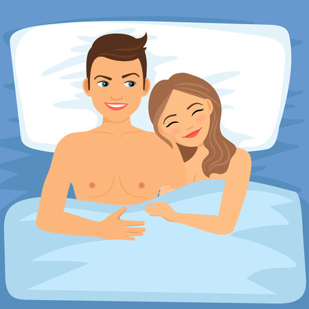 marriage bed: Happy couple in bed. Young couple sleeping together. Vector illustration