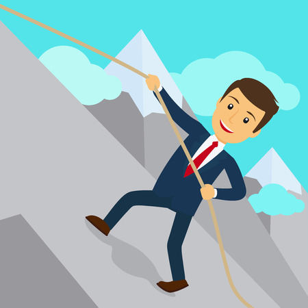 uphill: Businessman uphill climb. Business success achievement concept. Vector illustration