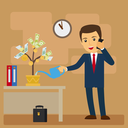 investment concept: Business investment concept. Businessman watering tree of money vector illustration Illustration