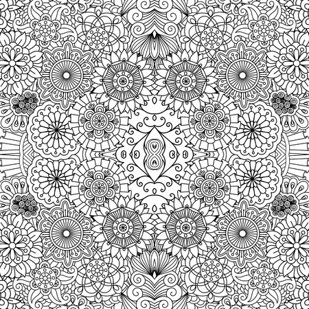 full filled: Full frame beautiful symmetrical seamless background filled with circular  flower like shapes in black and white
