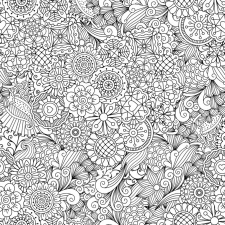 full frame: Creative ornamental full frame background made of kaleidoscope shapes and geometric floral designs Illustration