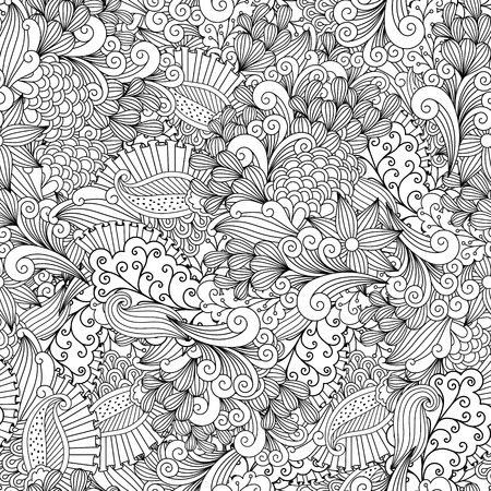 full filled: Full frame beautiful abstract seamless background filled with spiral  leafy shapes in black and white
