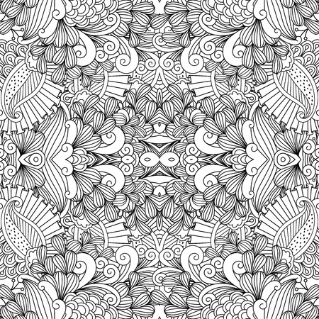 full filled: Full frame beautiful symmetrical seamless background filled with spiral  leafy shapes in black and white