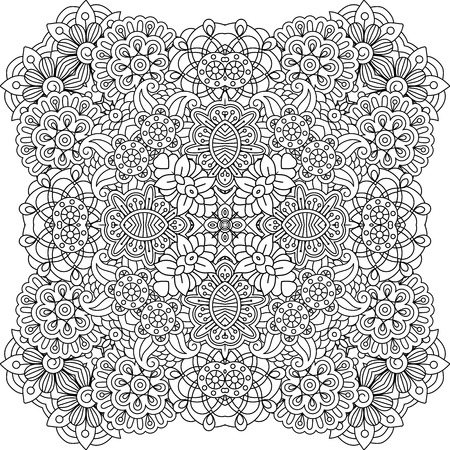 pleasing: Beautiful colorless geometric patterns on white background with pretty floral designs and other pleasing elements