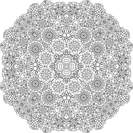 pleasing: Pretty geometric floral designs on white background with circular patterns and other pleasing elements