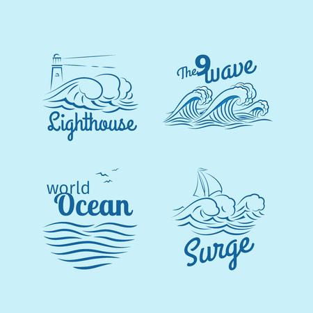 wave logo: Ocean wave logo set. Emblems with waves, lighthouse and boat vector