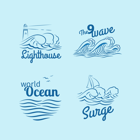 Ocean wave logo set. Emblems with waves, lighthouse and boat vector