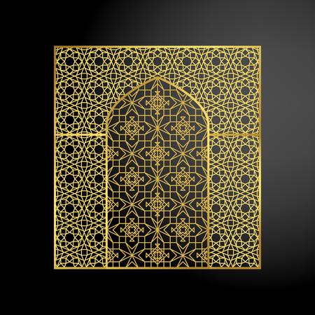 baroque gate: Oriental golden gate or moroccan arch. Vector illustration