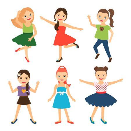 little girls: Little girl characters. Vector happy little girls Illustration