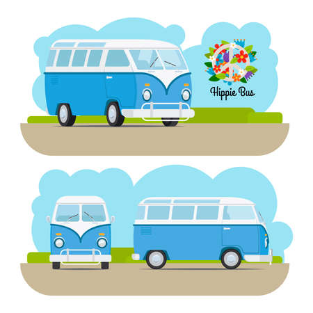 mini van: Hippie vintage blue mini van. Vector illustration