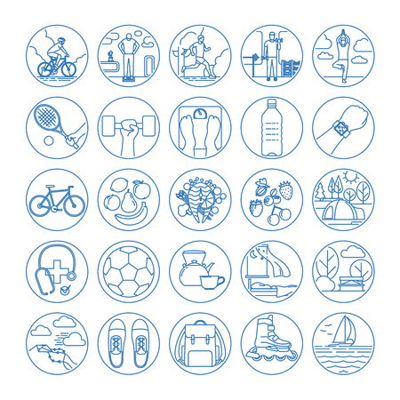 life style: Fitness and healthy life style line icons. Vector illustration Illustration