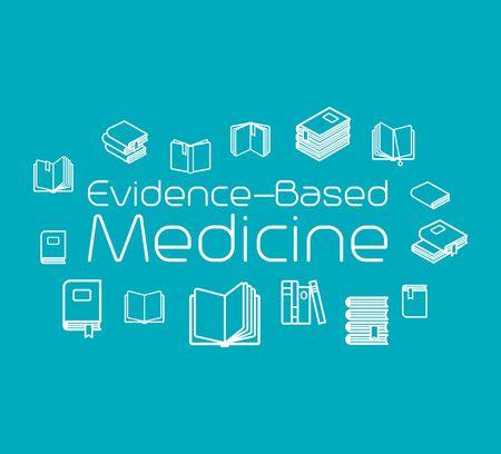 Evidence-based medicine concept illustration with books. Vector illustration