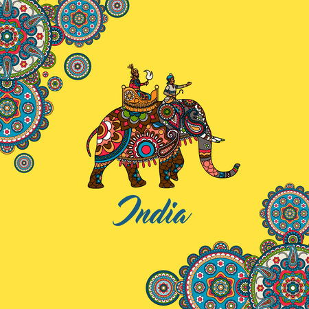 Indian maharaja sitting on elephant decorated mandala ornament. Vector illustration