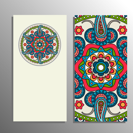 style template: Vertical banner decorated mandala ornament. Vector illustration