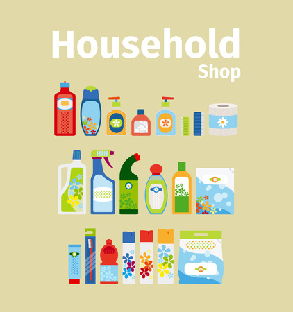 household goods: Household goods shop icon set. Vector illustration