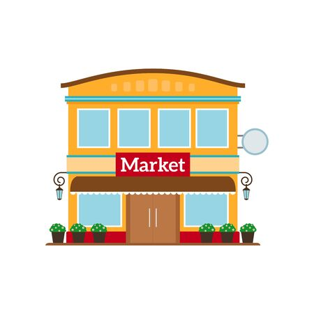 store keeper: Market flat style icon isolated on white. Vector illustration