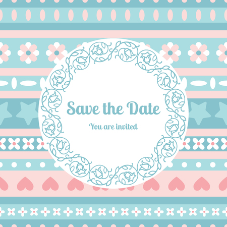 Save the date card template decorated cute pattern with floral fram. Vector illustration Illustration