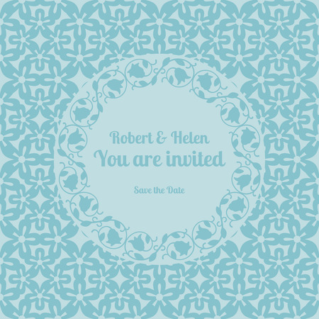invited: You are invited wedding card template decorated cute pattern with floral frame. Vector illustration Illustration