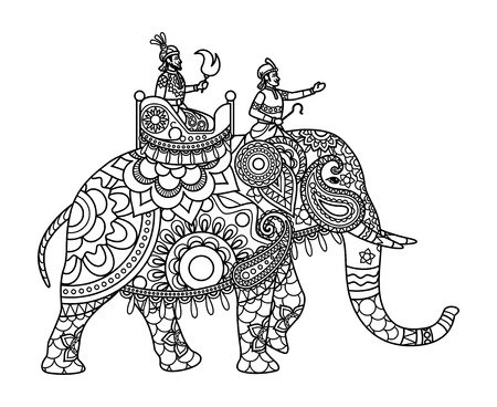 Indian maharajah on the elephant coloring pages template. Vector illustration Illustration