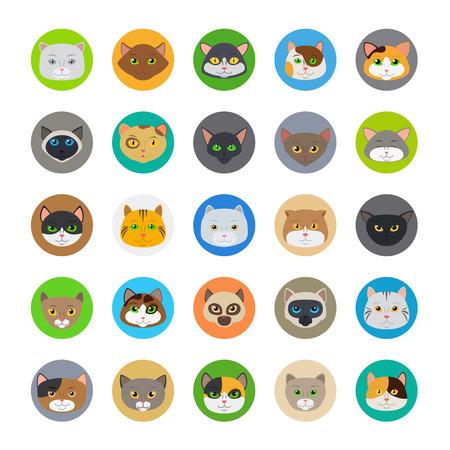 teste di gatto o simpatico gatto facce illustrazione vettoriale Vettoriali