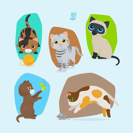 neko: Cute kittens. Vector cute cats isolated illustration set Illustration
