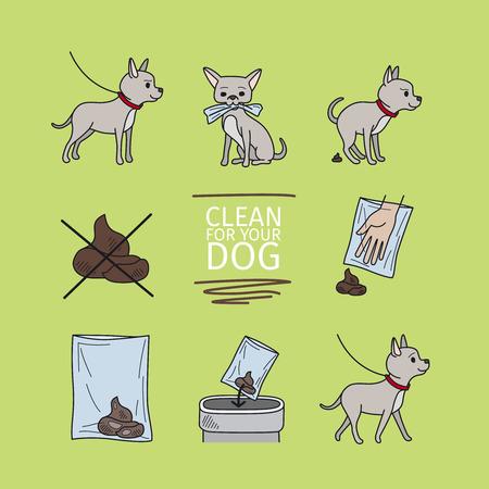 to clean up: Clean up after your dog information vector illustration Illustration