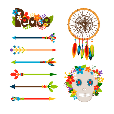 Hippie or boho elements. Vector ethnic set with arrows and skull, floral peace pattern and dream catcher