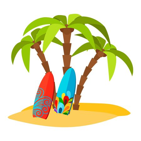 Surfing pacific beach vector flat print with palm trees and surf boards Illustration