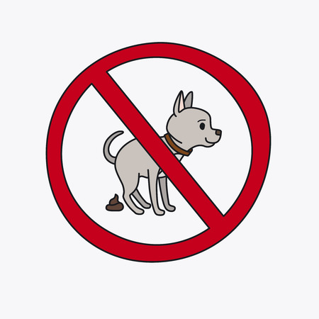 pooping: No dog pooping information sign. Vector illustration