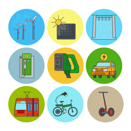 green power: Green power and eco transport flat line icons. Vector illustration Illustration